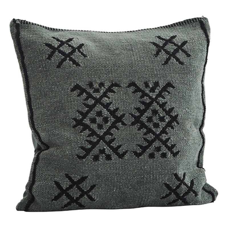 Madam Stoltz-collectie Chenille cushion cover - Emerald, black