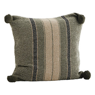 Madam Stoltz Striped woven cushion cover - Ivy, black, beige