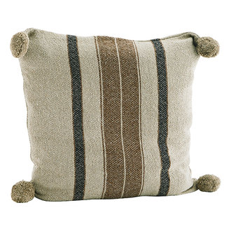 Madam Stoltz Striped woven cushion cover - Beige, brown, black