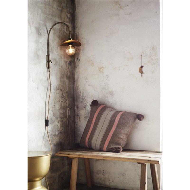 Madam Stoltz-collectie Geweven kussenhoes gestreept bruin/grijs/roze
