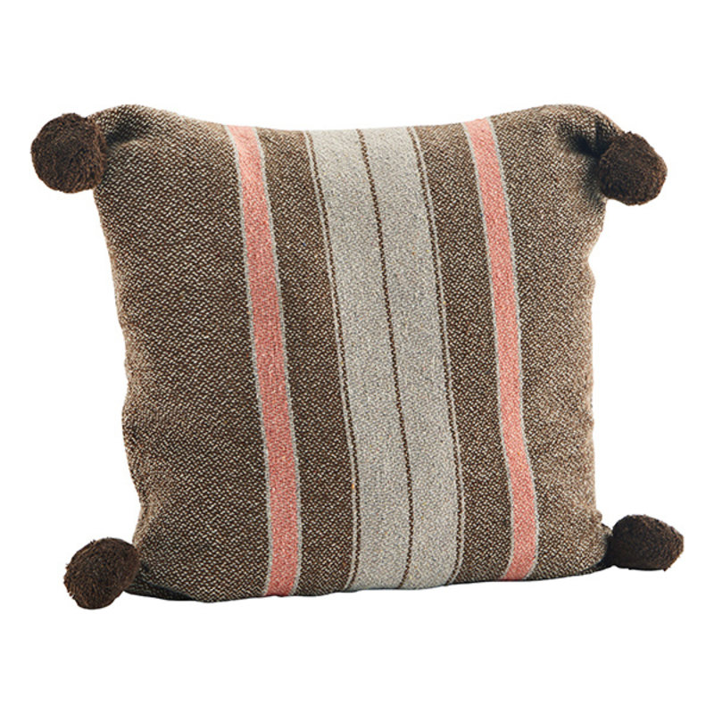 Madam Stoltz-collectie Striped woven cushion cover - Brown, greige, sorbet