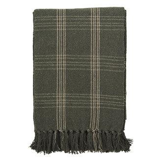 Madam Stoltz Checked woven throw w/ fringes - Dark green, beige