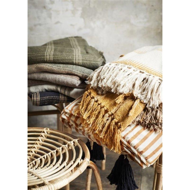 Madam Stoltz-collectie Checked woven throw w/ fringes - Dark green, beige