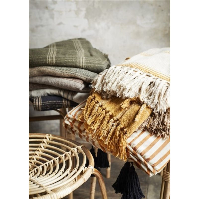 Madam Stoltz-collectie Geweven plaid met ruit donkergroen/beige