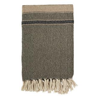 Madam Stoltz Striped woven throw w/ fringes - Ivy, black, beige