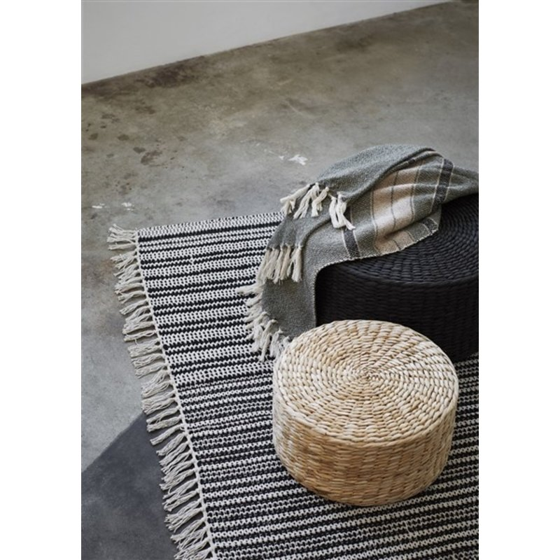 Madam Stoltz-collectie Striped woven throw w/ fringes - Ivy, black, beige