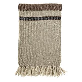 Madam Stoltz Striped woven throw w/ fringes - Beige, brown, black