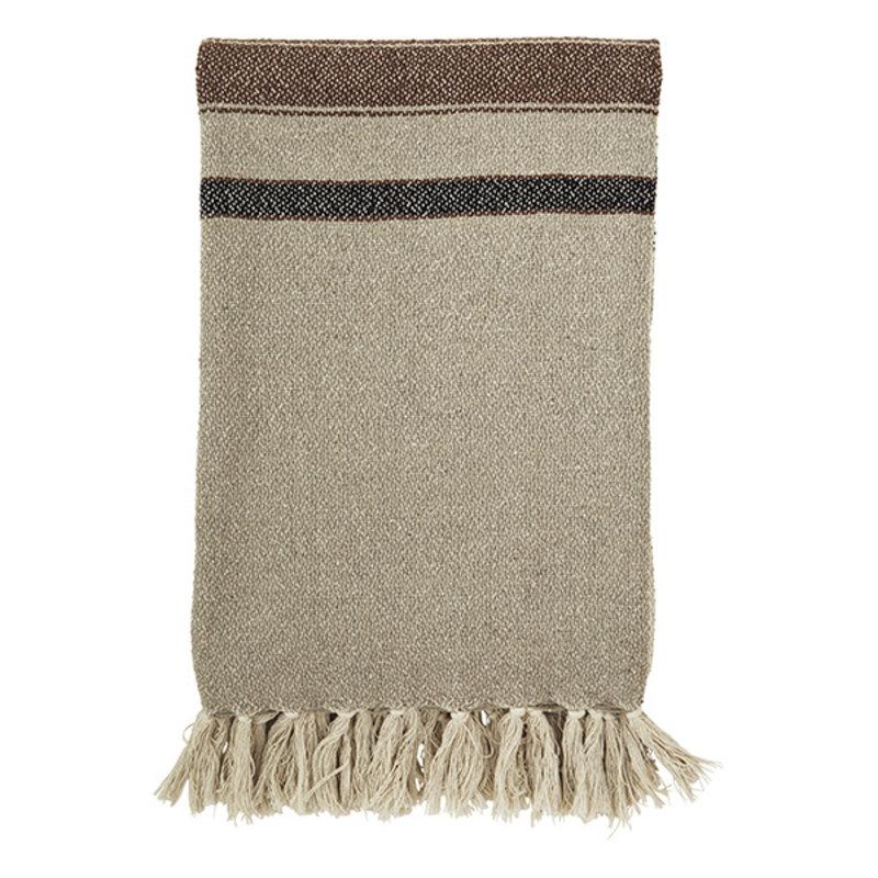 Madam Stoltz-collectie Striped woven throw w/ fringes - Beige, brown, black