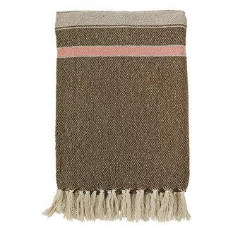 Madam Stoltz Striped woven throw w/ fringes - Brown, greige, sorbet