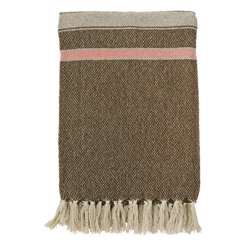 Madam Stoltz-collectie Striped woven throw w/ fringes - Brown, greige, sorbet