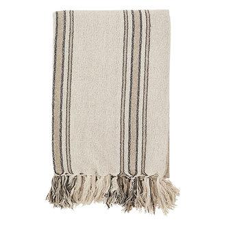 Madam Stoltz Striped woven throw w/ fringes - Ecru, black, sand
