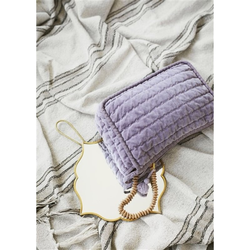 Madam Stoltz-collectie Striped woven throw w/ fringes - Ecru, black, sand
