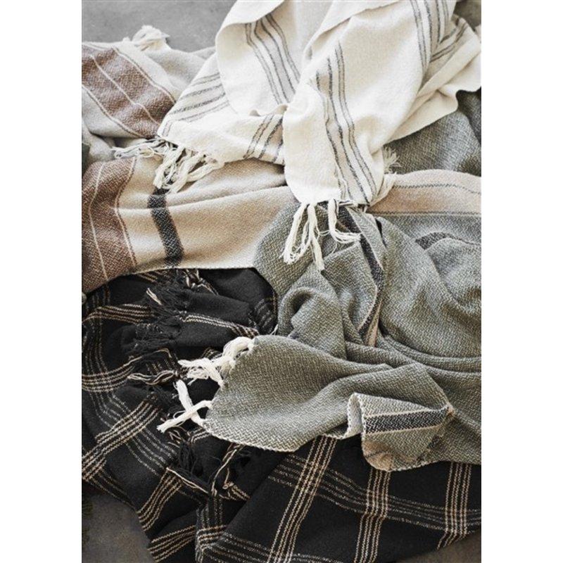 Madam Stoltz-collectie Geweven plaid gestreept ecru/zwart/beige