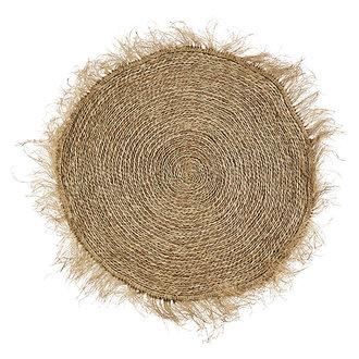 Madam Stoltz Round seagrass rug w/ fringes - Natural