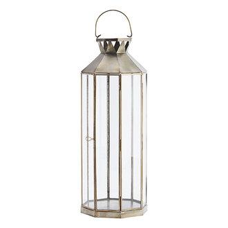 Madam Stoltz Iron lantern - Ant.brass, clear