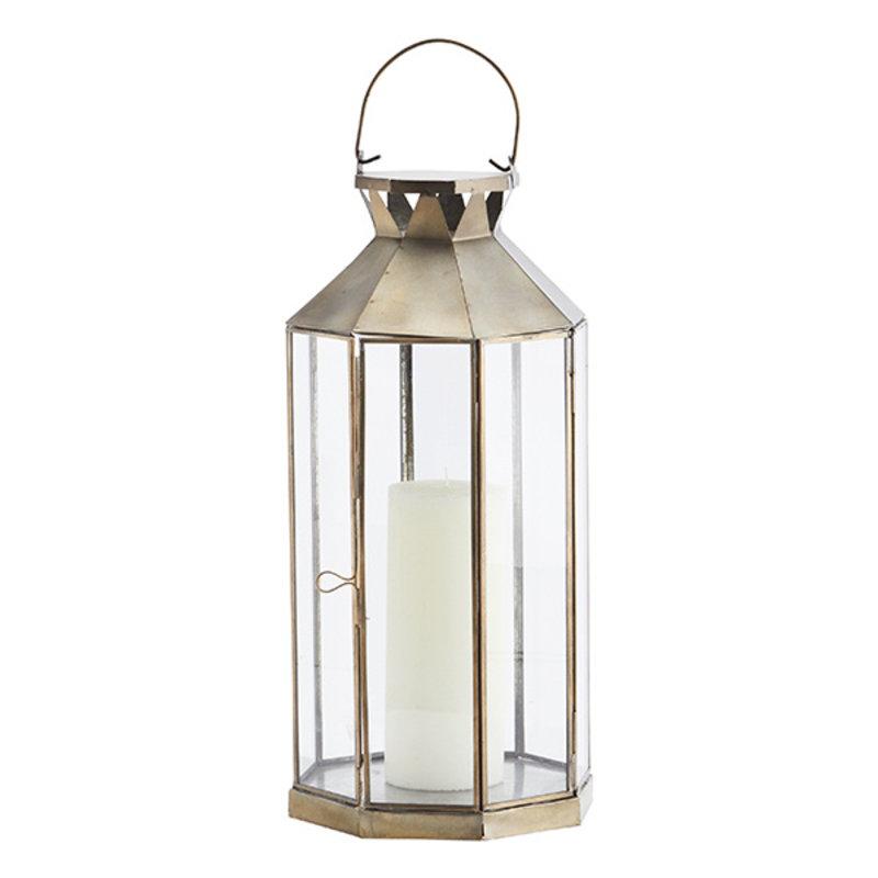Madam Stoltz-collectie Iron lantern - Ant.brass, clear