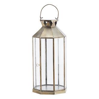 Madam Stoltz Metalen lantaarn antiek brass 42 cm