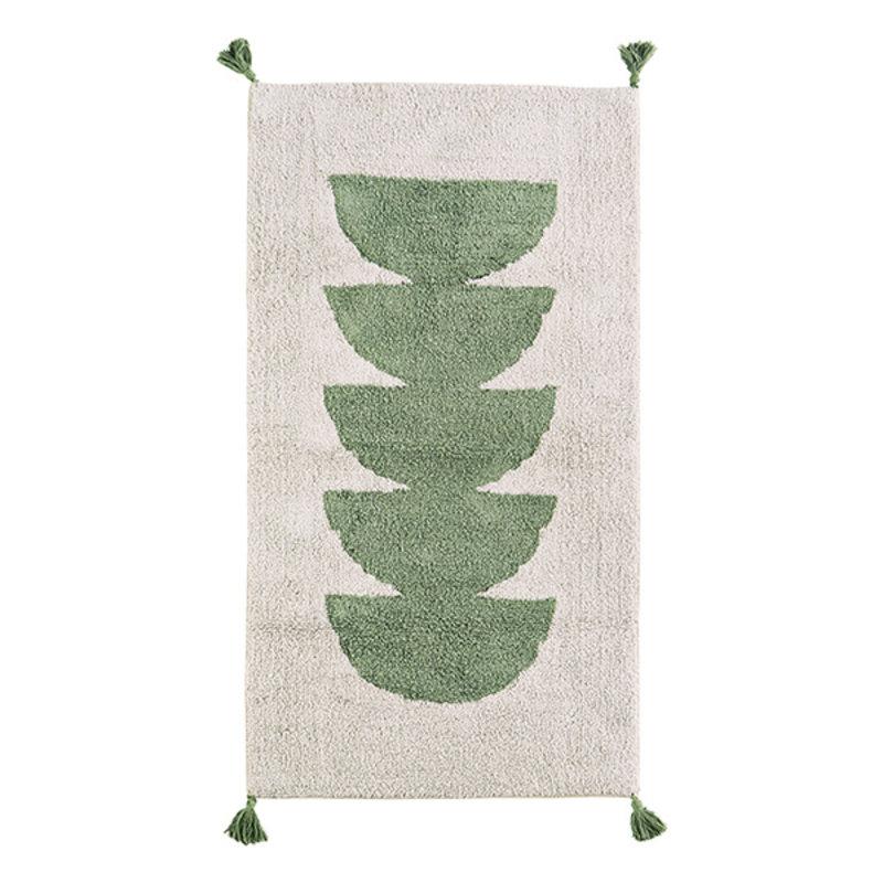 Madam Stoltz-collectie Tufted cotton runner w/ tassels - Off white, green