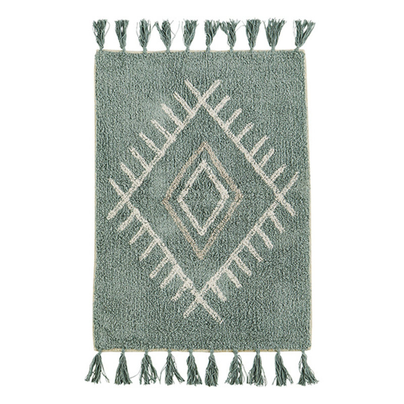 Madam Stoltz-collectie Katoenen badmat met kwastjes aqua/offwhite/taupe