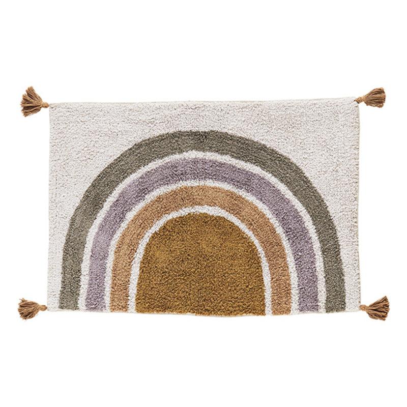 Madam Stoltz-collectie Katoenen badmat met kwastjes poeder/grijs/lila/oranje/mosterd