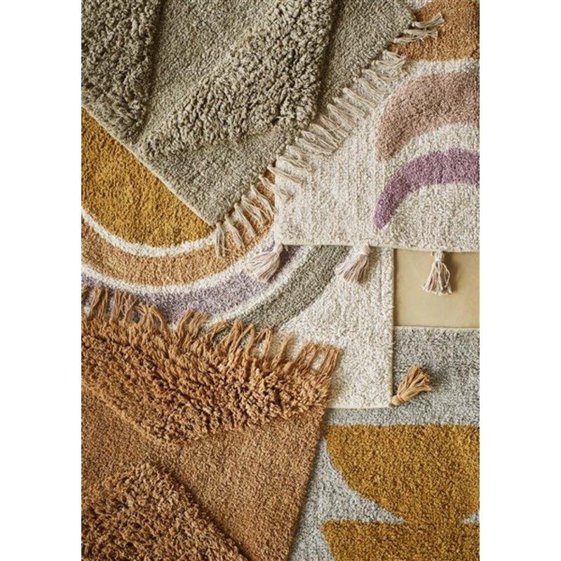 Madam Stoltz-collectie Tufted cotton bath mat - w/ tassels Powder, greige, lilac, indian tan, mustard