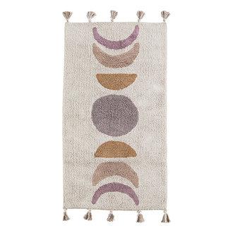 Madam Stoltz Tufted cotton runner w/ tassels - Powder, lilac, indian tan, dusty rose, aubergine