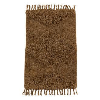 Madam Stoltz Katoenen badmat met franjes Indian tan