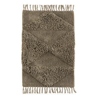 Madam Stoltz Tufted cotton bath mat - Taupe
