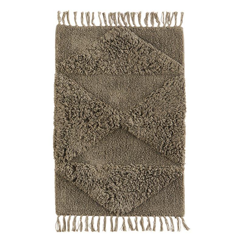 Madam Stoltz-collectie Katoenen badmat met franjes taupe
