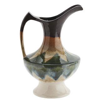 Madam Stoltz Keramieken vaas met handvat groen/crème/bruin