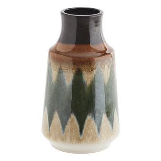 Madam Stoltz Stoneware vase - Green, creme, brown