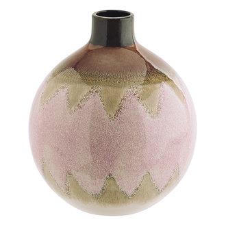 Madam Stoltz Keramieken vaas rond roze/crème/bruin 16 cm