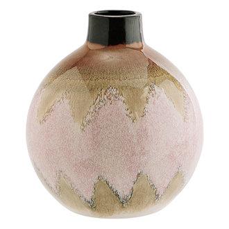 Madam Stoltz Keramieken vaas rond roze/crème/bruin 23 cm