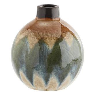 Madam Stoltz Round stoneware vase - Green, creme, brown
