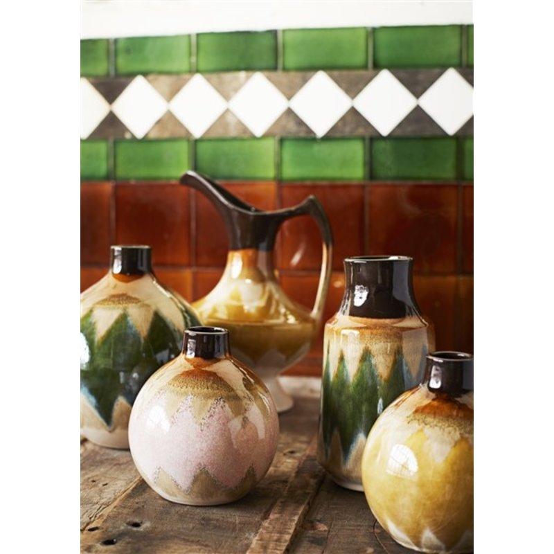 Madam Stoltz-collectie Round stoneware vase - Green, creme, brown