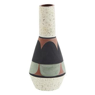 Madam Stoltz Terracotta vase - Off white, black, light green, terracotta