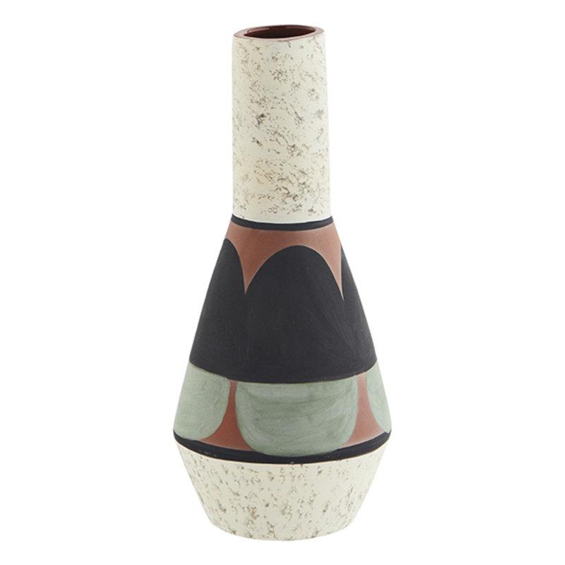 Madam Stoltz-collectie Terracotta vase - Off white, black, light green, terracotta