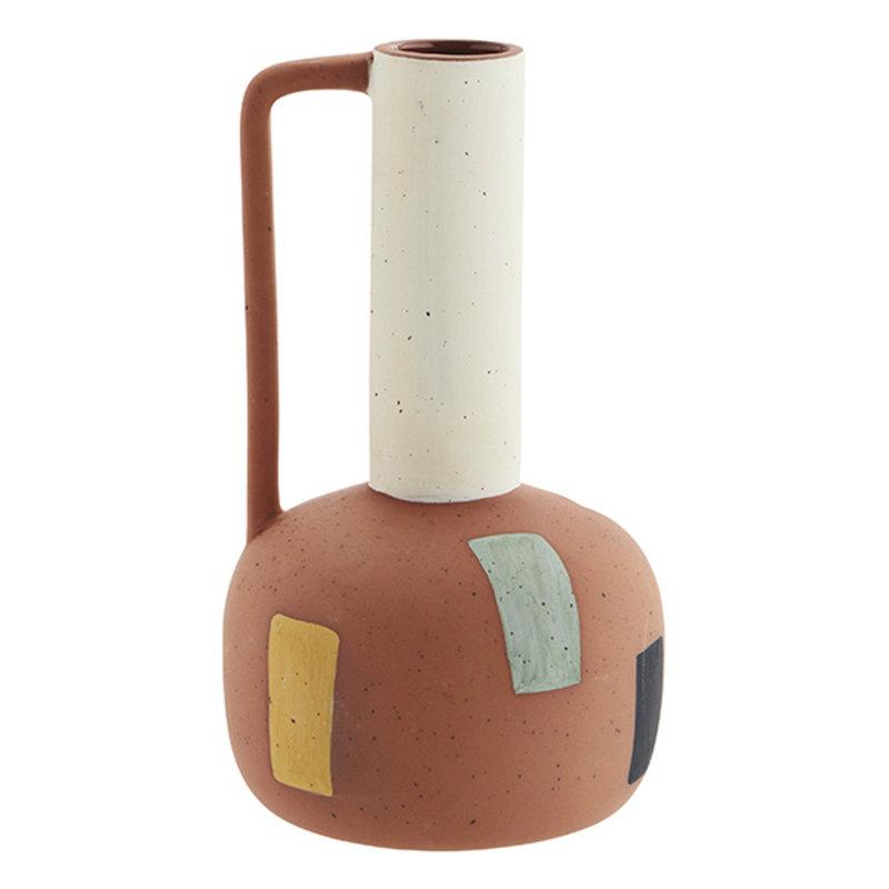 Madam Stoltz-collectie Terracotta vase w/ handle - Terracotta, off white, black, yellow, light green