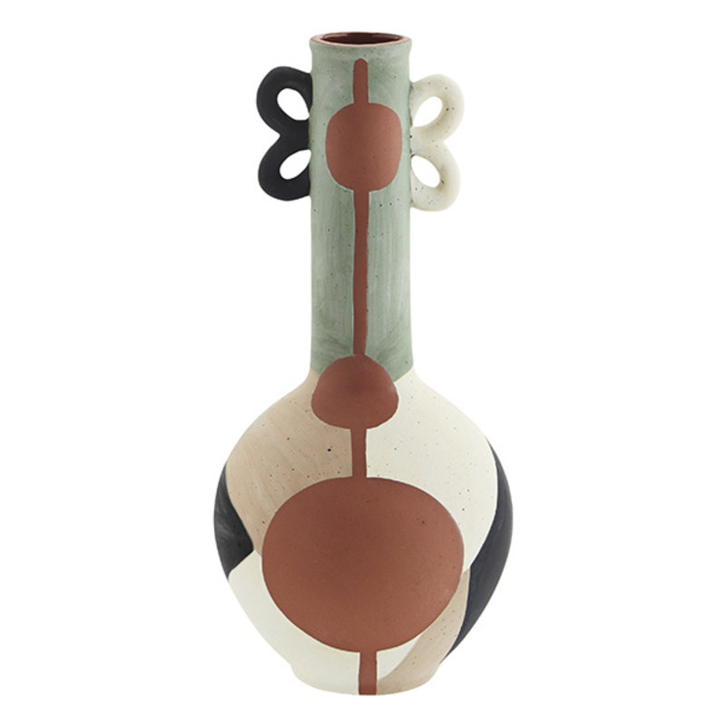 Madam Stoltz-collectie Terracotta vase w/ handles Terracotta, off white, taupe, light green, black