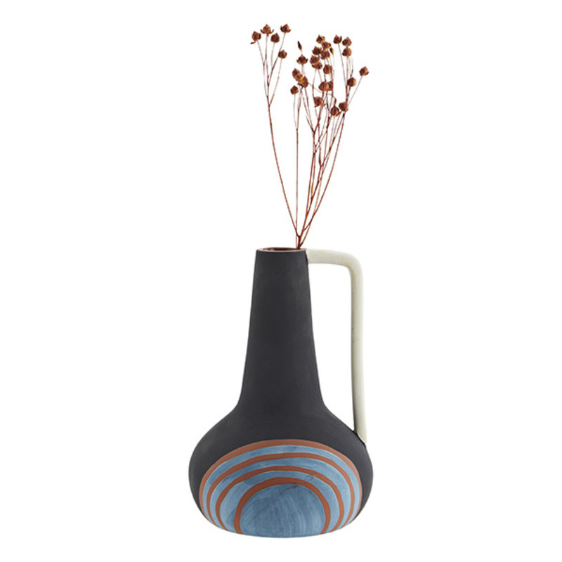 Madam Stoltz-collectie Terracotta vase w/ handle - Black, off white, blue, terracotta