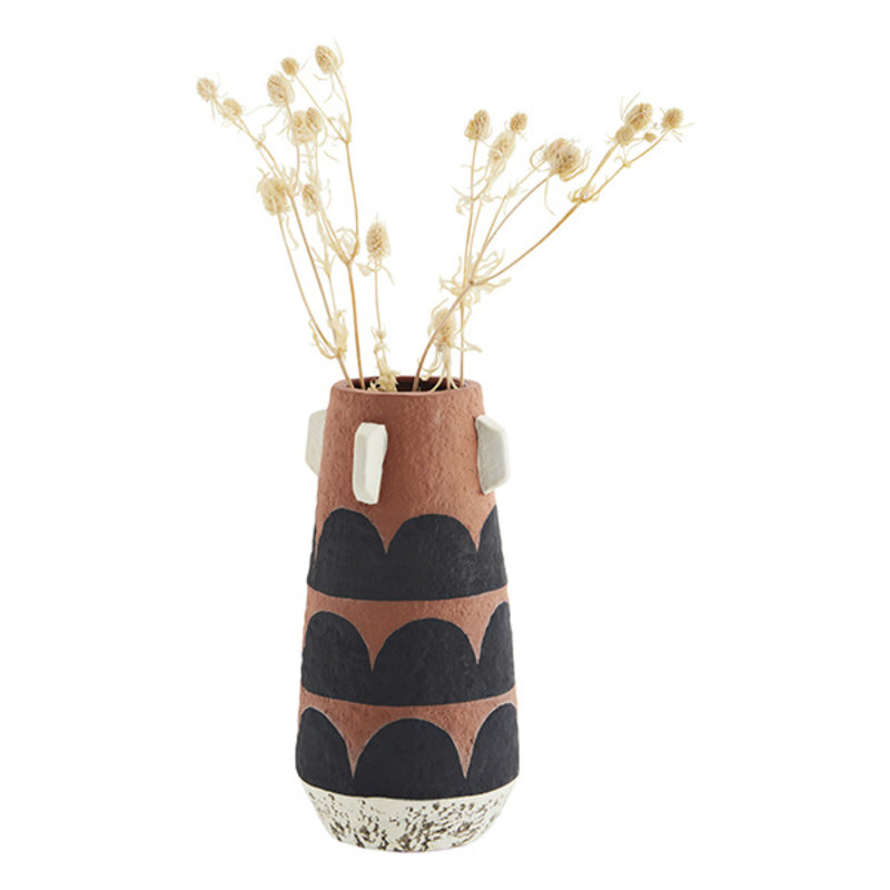 Madam Stoltz-collectie Terracotta vase - Terracotta, black, off white