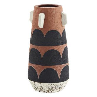 Madam Stoltz Terracotta vase - Terracotta, black, off white