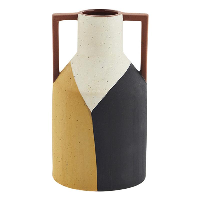 Madam Stoltz-collectie Terracotta vase w/ handles - Off white, black, yellow, terracotta