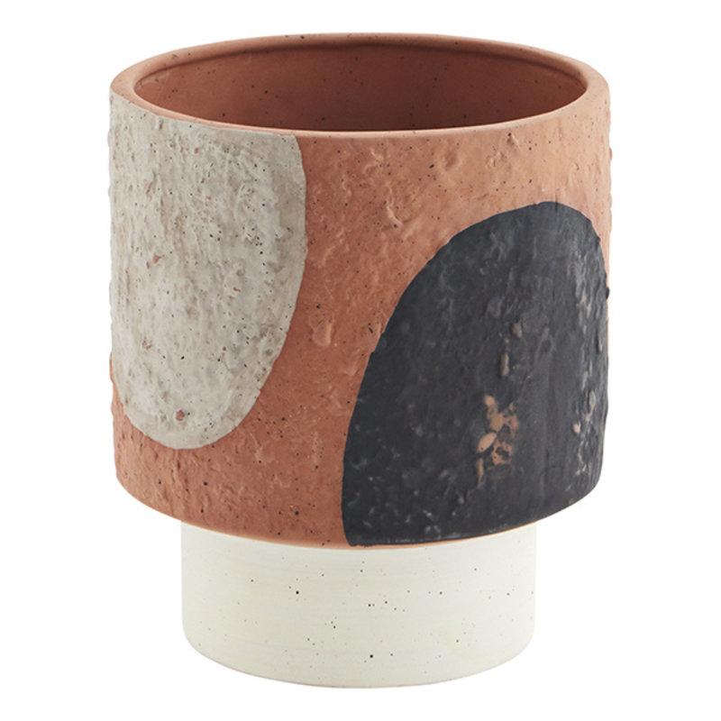 Madam Stoltz-collectie Terracotta flower pot - Terracotta, black, grey, blue, light green, off white