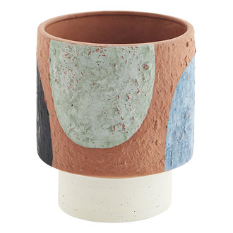 Madam Stoltz Terracotta flower pot - Terracotta, black, grey, blue, light green, off white