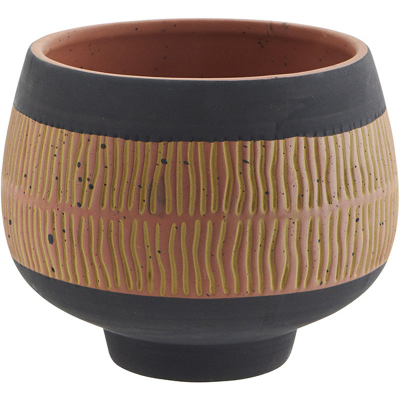 Madam Stoltz-collectie Terracotta flower pot - Terracotta, black, khaki