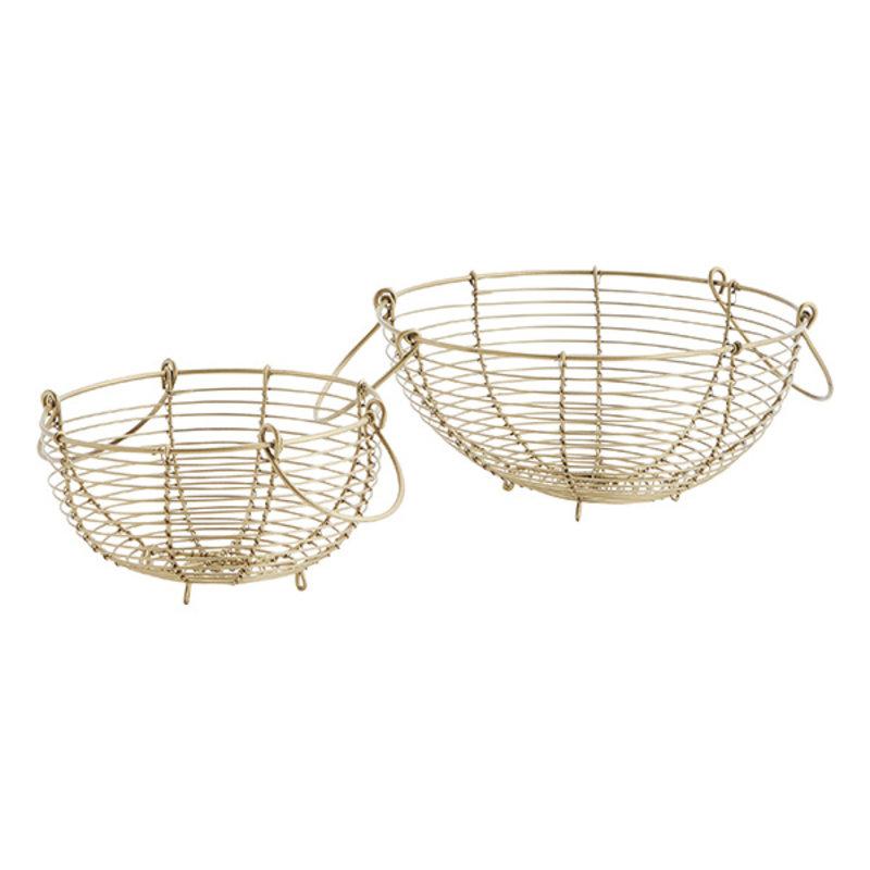 Madam Stoltz-collectie Round wire baskets w/ handles - Ant.brass