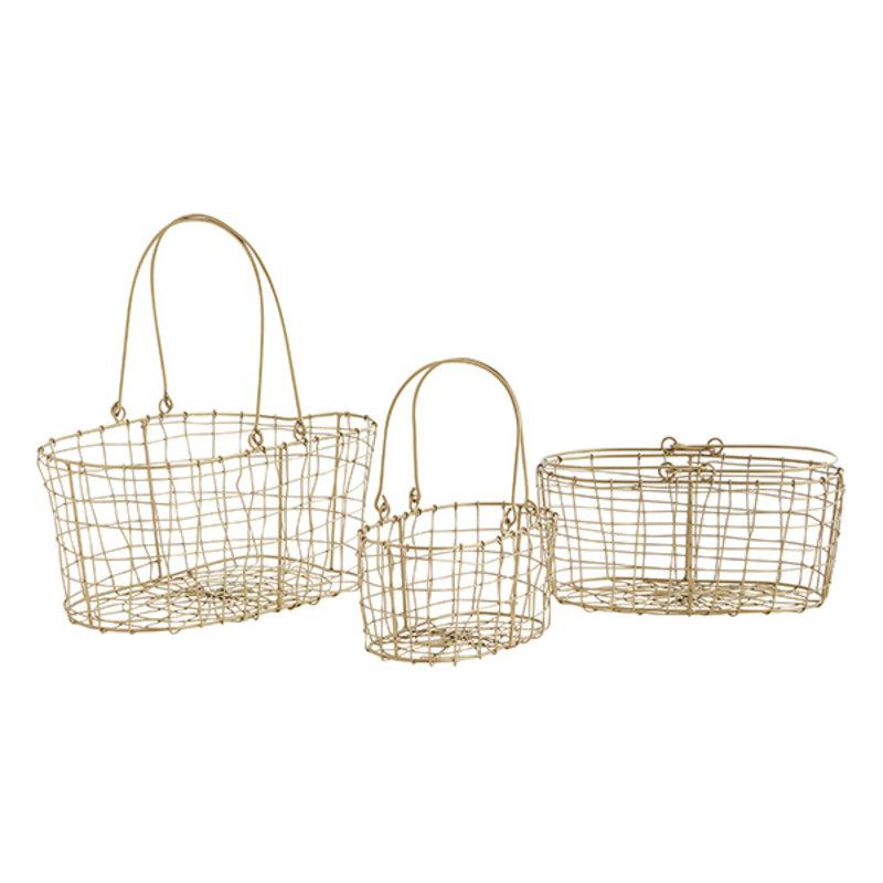 Madam Stoltz-collectie Oval iron baskets w/ handles - Ant.brass