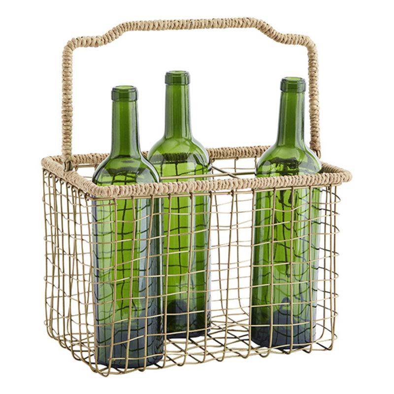 Madam Stoltz-collectie Iron bottle holder - Ant.brass, Natural