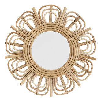 Madam Stoltz Round mirror w/ bamboo - Natural